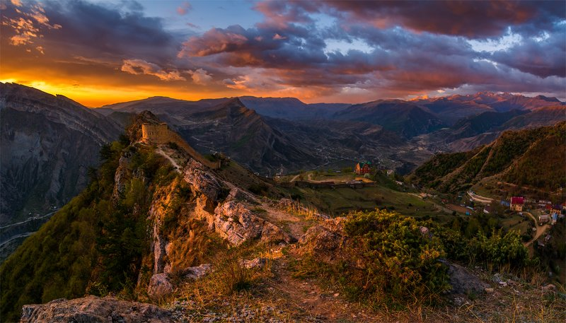 природа, пейзаж, горы, кавказ, природа россии, дикая природа, рассвет, свет, облака, утро, весна, Рассвет в Гунибеphoto preview
