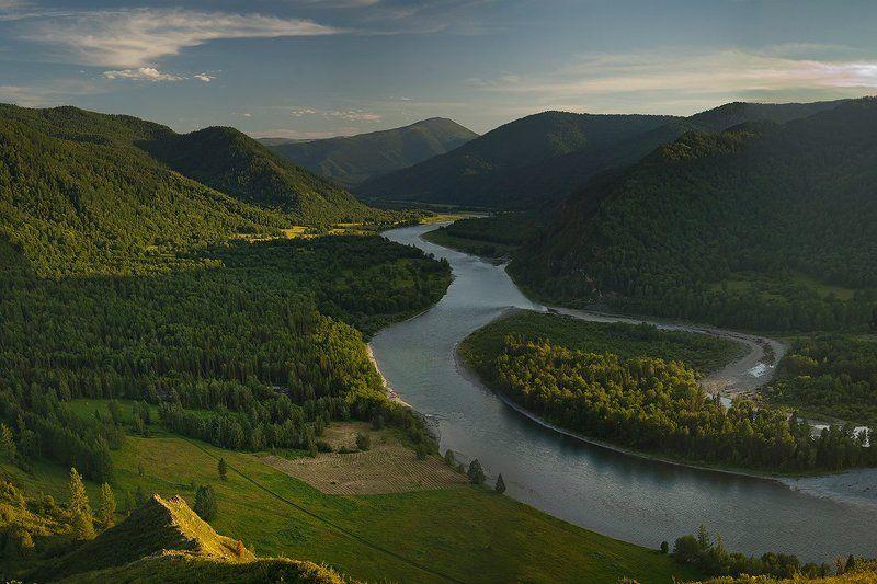горы, алтай, река, катунь вечерелоphoto preview