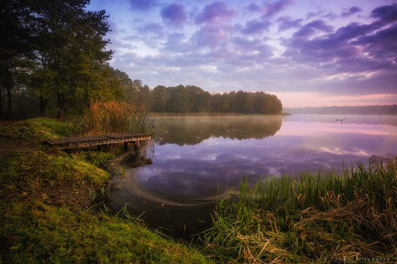 landscape, poland, light, autumn, awesome, amazing, sunrise, sunset, lovely, nature, travel, morning, trees, lake, clouds, mist, fog, reflection, footbridge Autumn morning colorsphoto preview