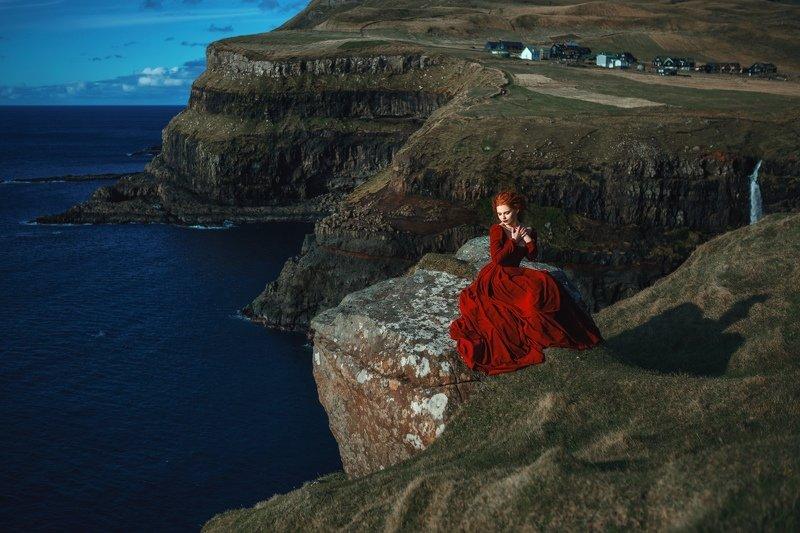 faroe, island, beautiful, landscape, wind, ocean, sea, wild, portrait, red dress, sun, light, mountains, dresmy, Faroephoto preview