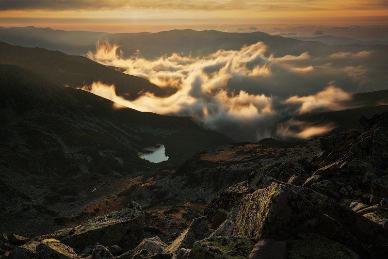 autumn, peaks, clouds, mist, landscape, travel, nature, mountain, romania, cold, sunrset Up in the Skyphoto preview