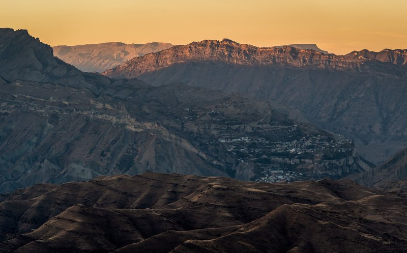 dagestan, sunset, mountains, nature, landscape Аул Гуниб.photo preview