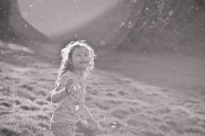 Black and white, Child, Portrait, Sunset photo preview