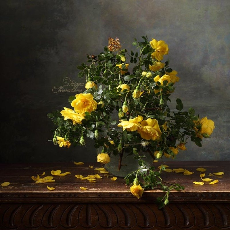 натюрморт, цветы, розы, осень Увяданиеphoto preview