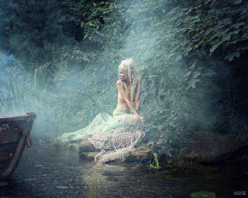 портрет, русалка, фентези, арт, магия, сказка, постановочное фото, девушка, лес, пруд Русалкаphoto preview