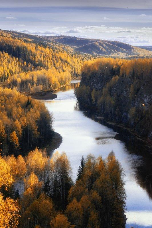 пермский край, косьва, осень, рассольная, россия, урал, пейзаж, река Разрез Рассольныйphoto preview