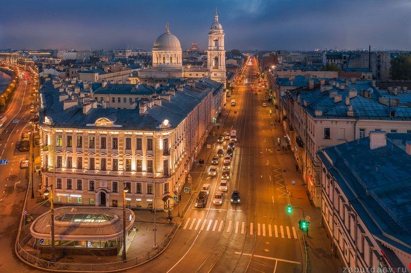 россия, петербург, город, вечер, осень, дрон Кадетская и 1-я линии Васильевского островаphoto preview