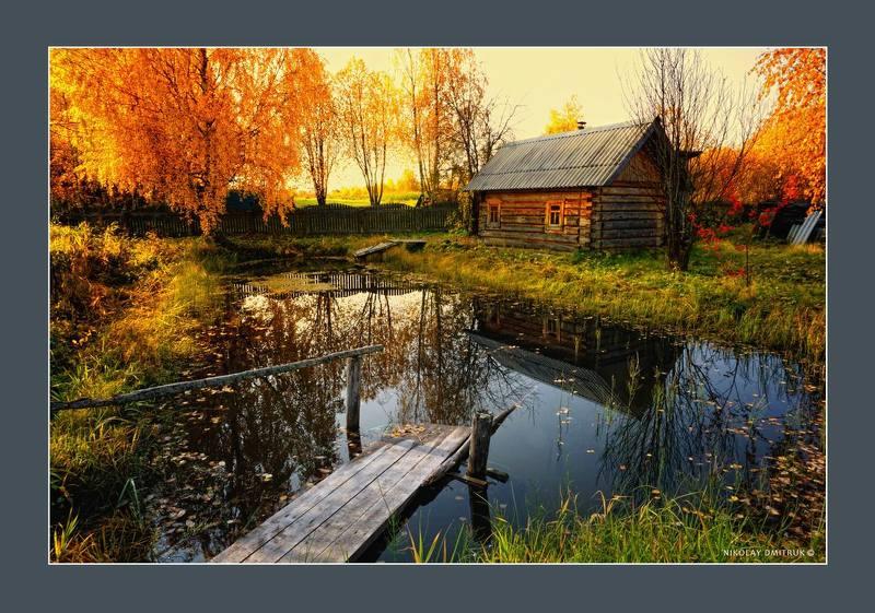 пейзаж пруд. баня. осень. д. Звоз 2020photo preview