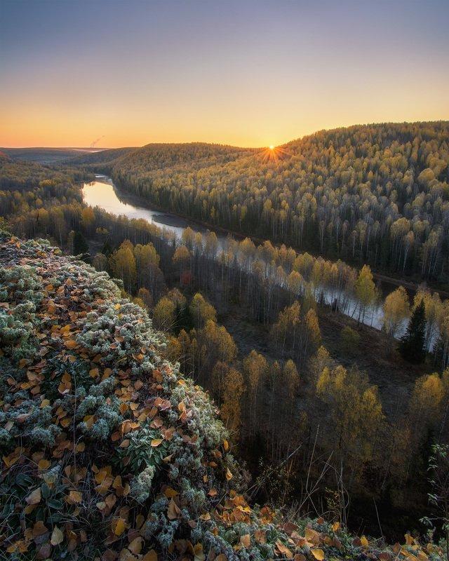 пермский край, косьва, осень, рассольная, россия, урал, пейзаж, река, рассвет, утро, солнце Первые лучи солнцаphoto preview