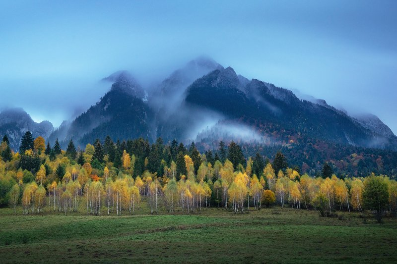 landscape, nature, trees, mountains, autumn, romania, sunset, rain, clouds, colours Cold Autumnphoto preview