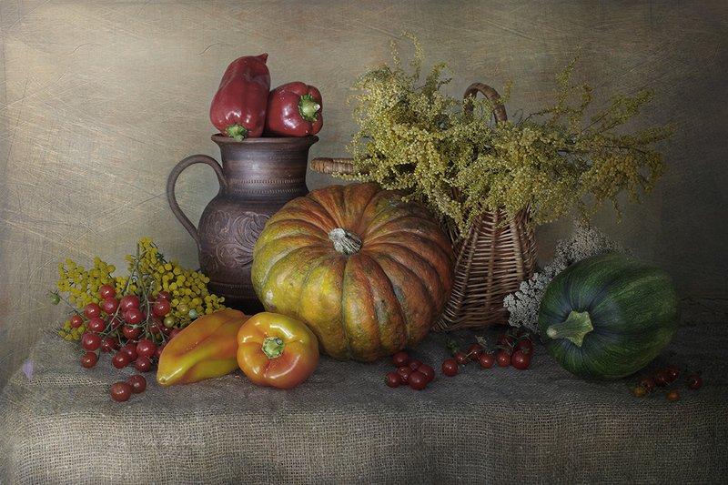 натюрморт ,осень, овощи ,вера павлухина, Осенний натюрмортphoto preview