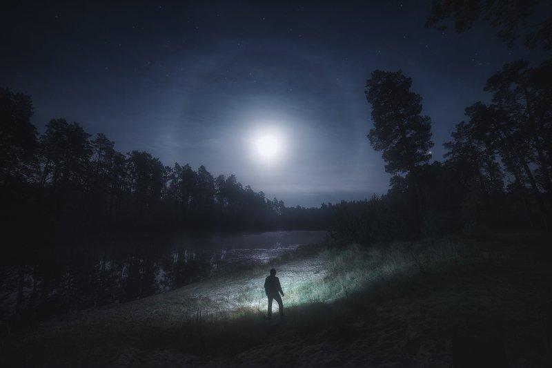 украина, коростышев, киричанка, природа, лес, полесье, озеро, тишина, лунный странник, силуэт, уединение, счастье, жизнь, вдохновение, свет, сияние, небо, луна, ночь, гало, единство, осознанность, отражение, деревья,  фотограф, чорный, Долгий близкий путьphoto preview