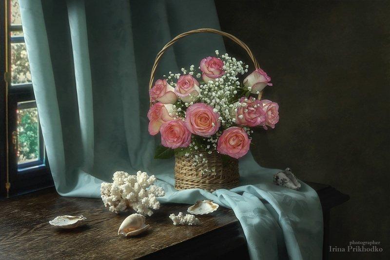 натюрморт, букет, цветы, розы, кораллы, ракушки Я мечтала о морях и кораллах...photo preview