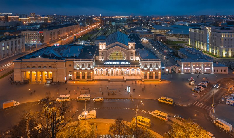 россия, вокзал, осень, вечер, дрон, петербург Балтийский вокзалphoto preview