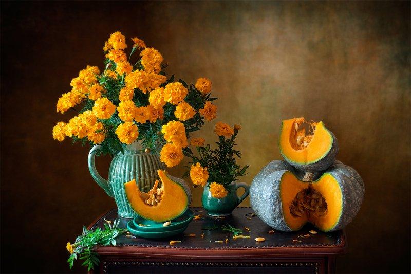 фотонатюрморт, миламиронова, осень, тыква, букет, цветы, настроение, оранжевый, позитив Оранжевая осень...photo preview