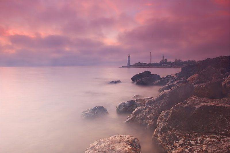 крым, закат, мыс, херсонес Туман и мореphoto preview