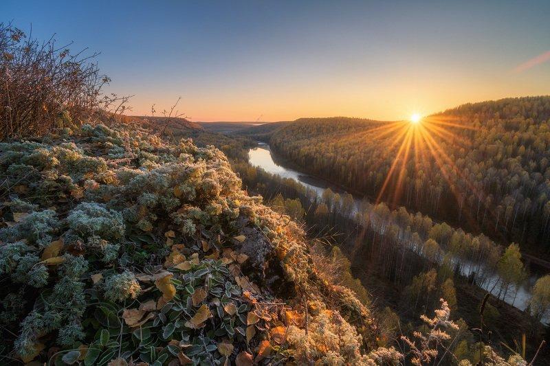 пермский край, косьва, осень, рассольная, россия, урал, пейзаж, река, рассвет, утро, солнце Рассвет на Рассольномphoto preview