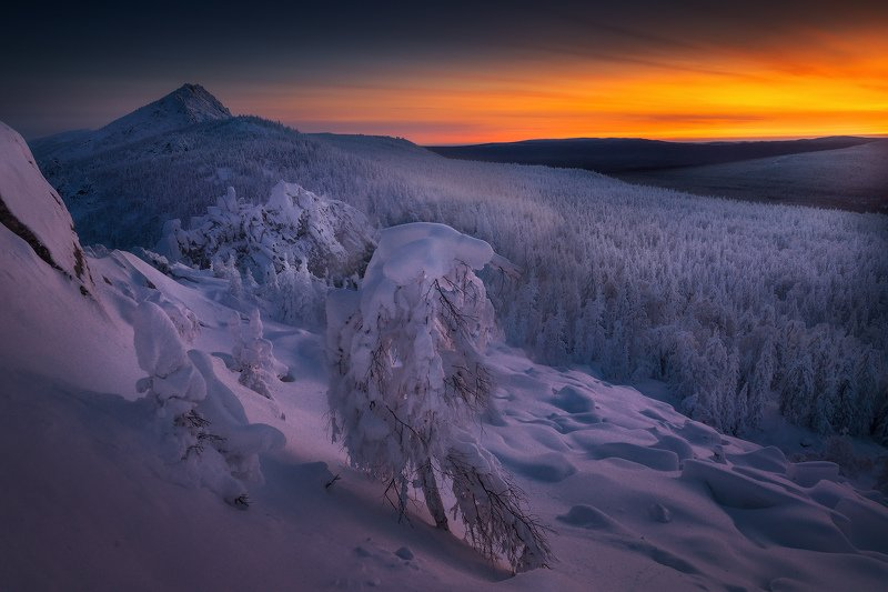 таганай, урал, горы, зима Морозный рассветphoto preview