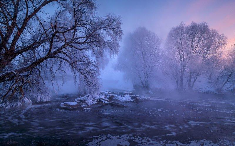 листвянка, река, мороз, иней, туман Листвянкаphoto preview