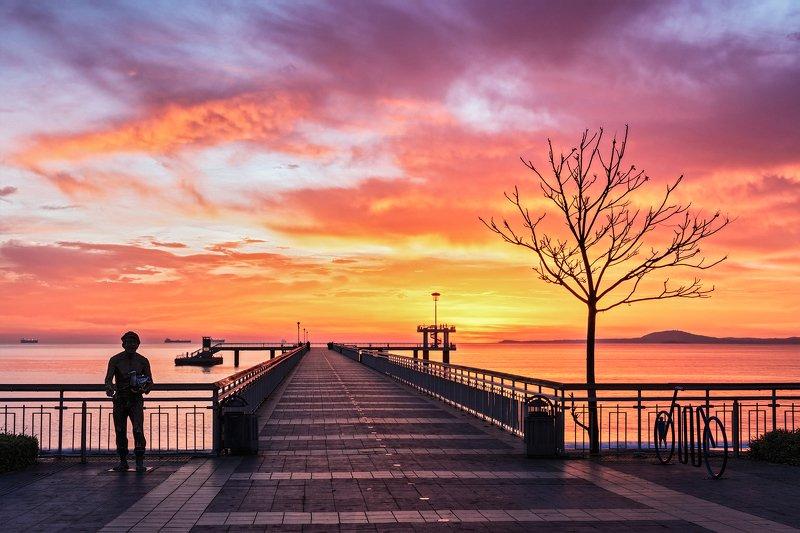 осень октябрь утро, рассвет, мост, пирс, море, черное, бургас, болгария, путешествия Морской мост. Утро.photo preview
