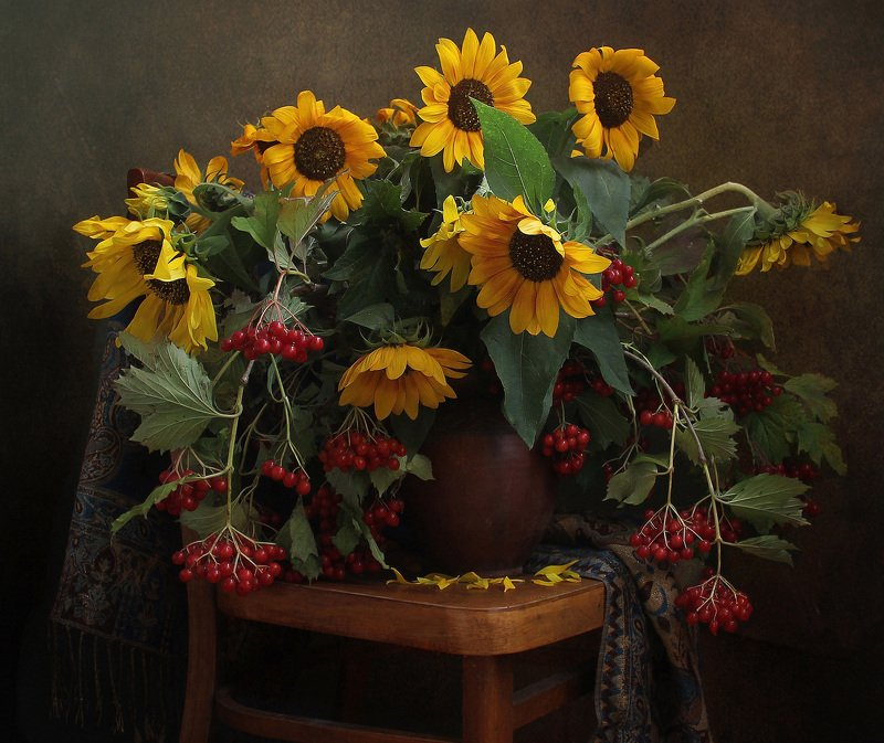 осень,  цветы, калина, подсолнухи, натюрморт, марина филатова Краски Осени (2)photo preview