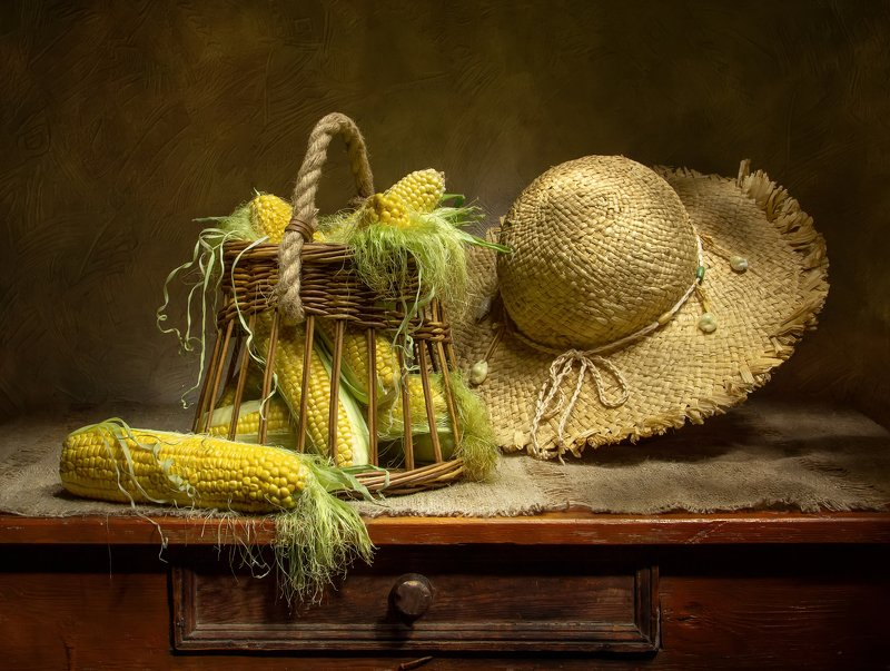 натюрморт, кукуруза, шляпа Кукурузка:) фото превью