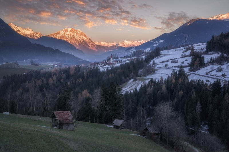 Acres, Afterglow, Agriculture, agricuturalbuilding, alps, Arzl, Austria, austrian alps, Barns, church, Clouds, Evening, eveningglow, Farmhouse, fog, foggy, Forest, Frost, frosty, Heybarns, Hill, Hills, houses, Hovel, Huts, Landscape, Logcabin, Meadows, Mo Signs of Winterphoto preview
