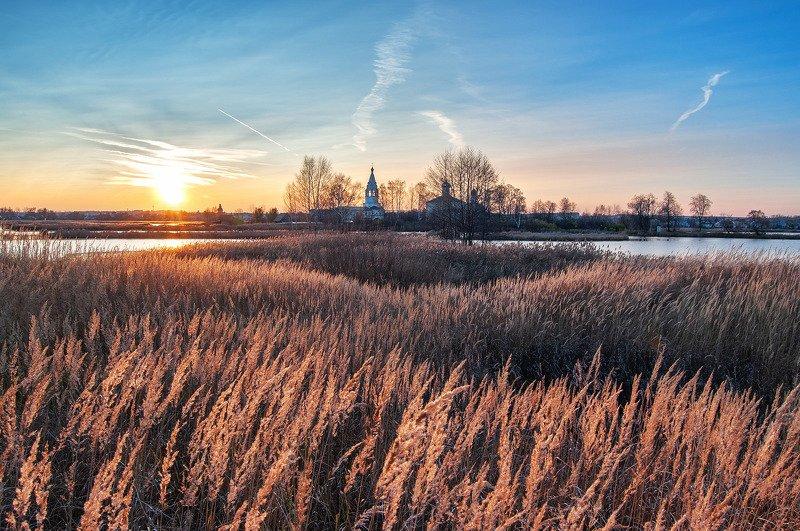 монастырь, остров, закат, осень, вечер, озеро острово-езерский, ворсма ***photo preview