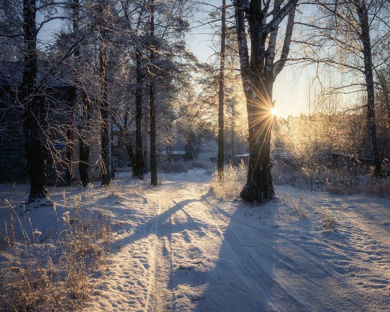 пермь, пермский край, зима, снег, иней, сонце, закат, вечео Winter magicphoto preview