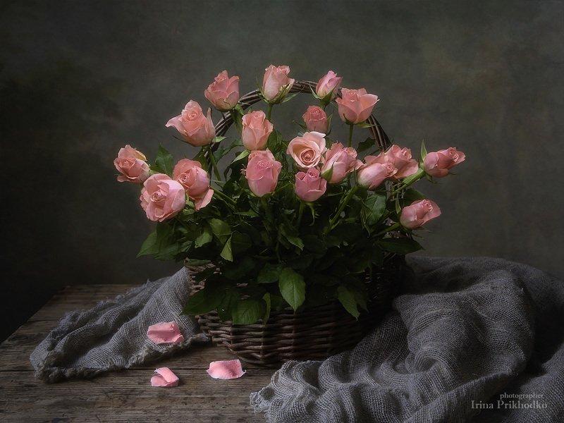 натюрморт, винтажный, цветочный, букеты, корзина, розы, деревенский Роза в деревенском антуражеphoto preview