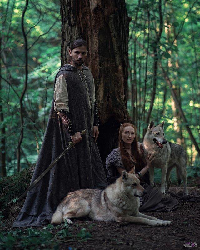 портрет, женщина, мужчина, животные, лес, история, исторические съемки Игра престоломphoto preview