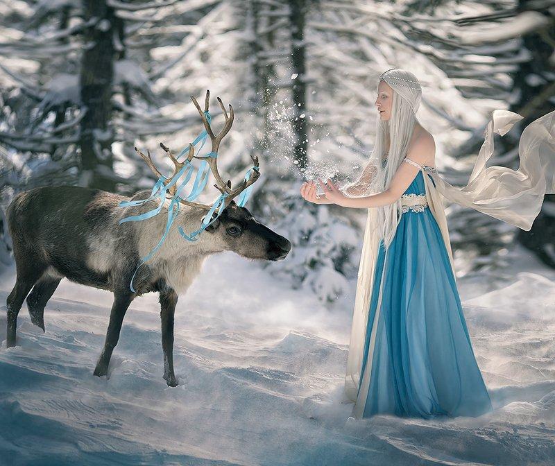 #winter #deer #fairy #wind #girl #fairytale Winter farytalephoto preview