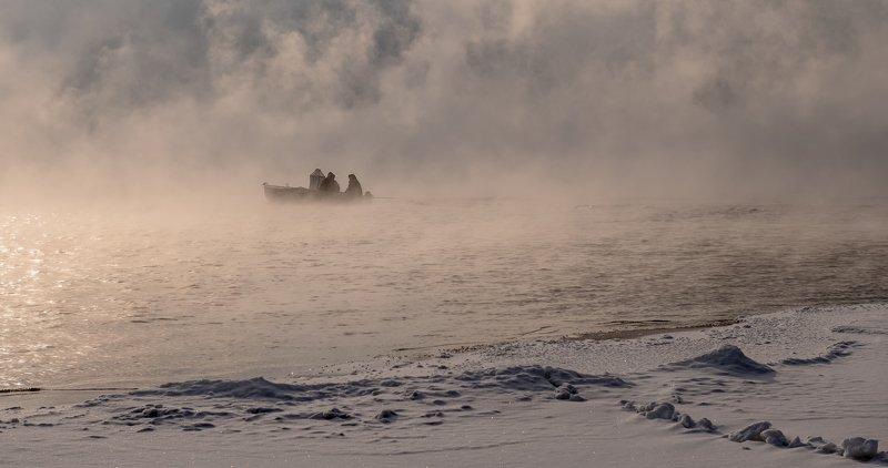 енисей, мороз, рыбалка. Морозная рыбалка.photo preview