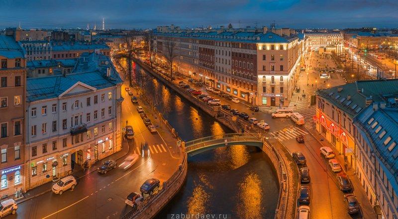 россия, петербург, вечер, осень, канал, река, мост, дрон Канал Грибоедоваphoto preview