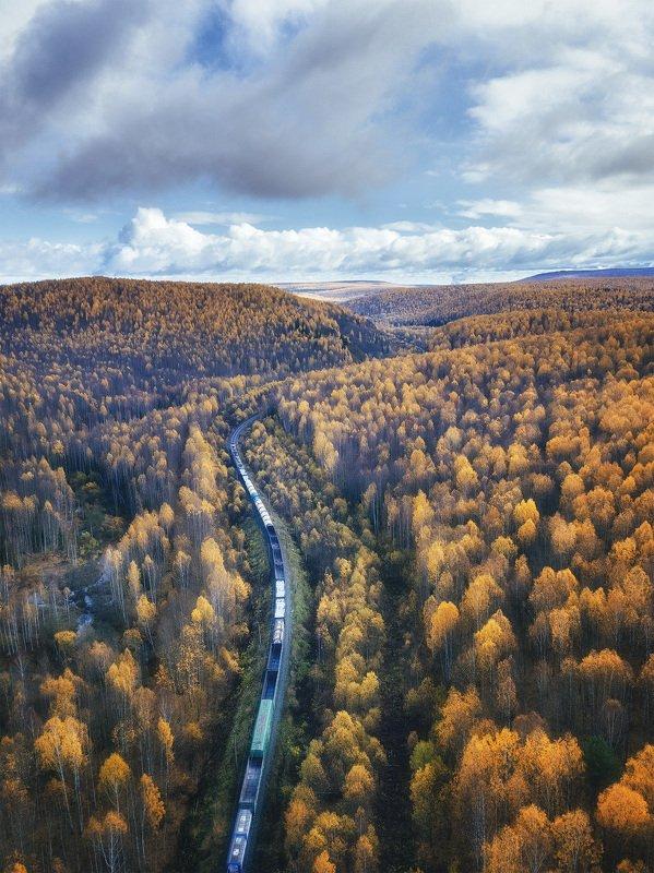 пермский край, осень, золотая осень, осенний лес, осенний пейзаж, ржд, россия, поезд, железная дорога Составphoto preview