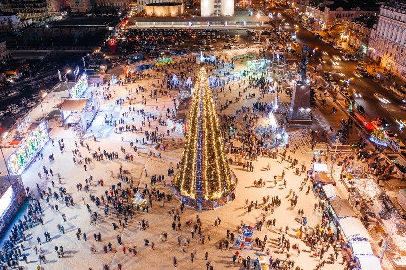 новый год, елка, площадь, площадь борцов за власть, владивосток, зима, снег, ночь Новогодняяphoto preview