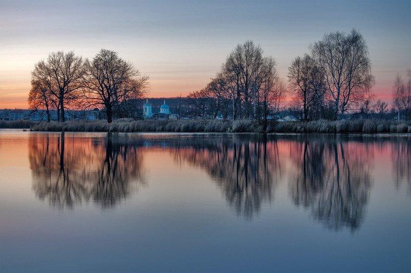 осень, вечер, озеро, храм, монастырь, деревья, вода, река ***photo preview