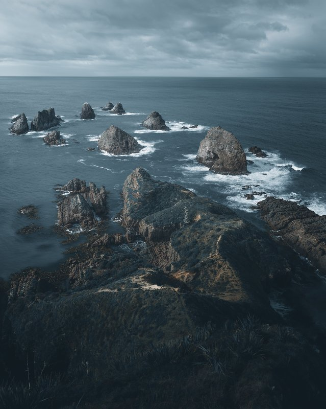 rocks, ocean, water, clouds, landscape, nature, new zealand, travel, trip Rocksphoto preview