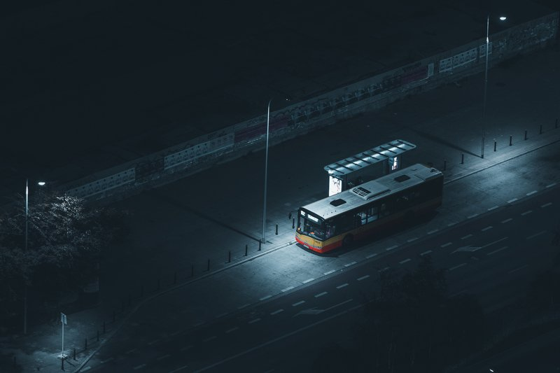 bus, city, night, light, mood, moody, dark, poland, warsaw Bus stopphoto preview