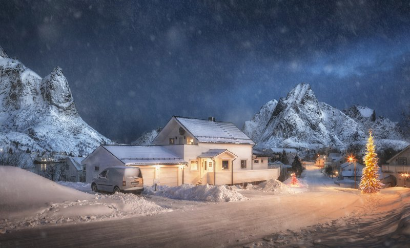 lofoten islands, norway, reine, лофотены, норвегия, christmas Christmas on the Lofoten Islandsphoto preview