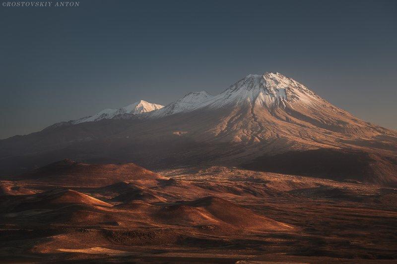 вулкан, гора, снег, вершина, осень, закат, volcano, mountain,  Закат с видом на вулканphoto preview