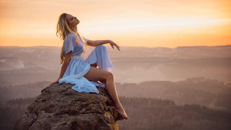 mountain, sunset, landscape, sky, nature, mountains, sunrise, clouds, travel, cloud, blue, silhouette, beautiful, view, sun, peak, evening, hill, rock, hiking, woman, morning, fog, horizon, desert, elbrus, freedom, caucasus, lonely, graceful, sexy, touris Sexy sunsetphoto preview