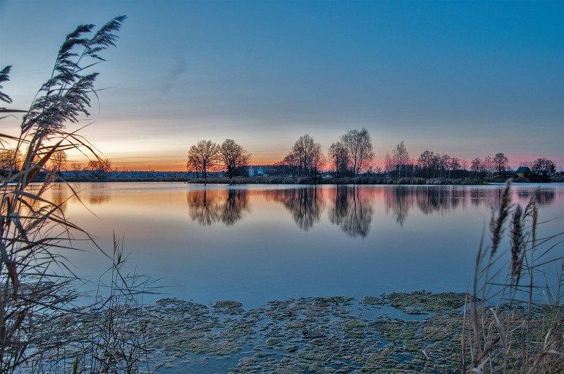 вечер, закат, озеро, река, отражение, церковь, монастырь ***photo preview