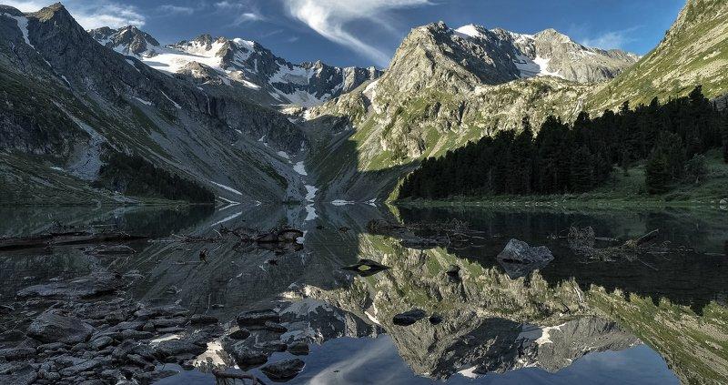 алтай, верхнее  мультинское озеро. Геометрия.photo preview