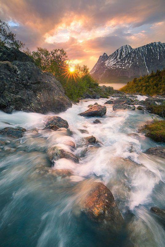 Норвегия, Пейзаж, Поток, Река Неудержимый потокphoto preview