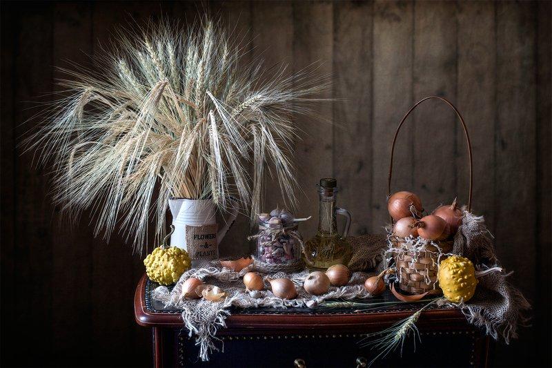 фотонатюрморт, миламиронова, осень, овощи, лук, чеснок, тыква, рожь, овёс, букет С луком...photo preview