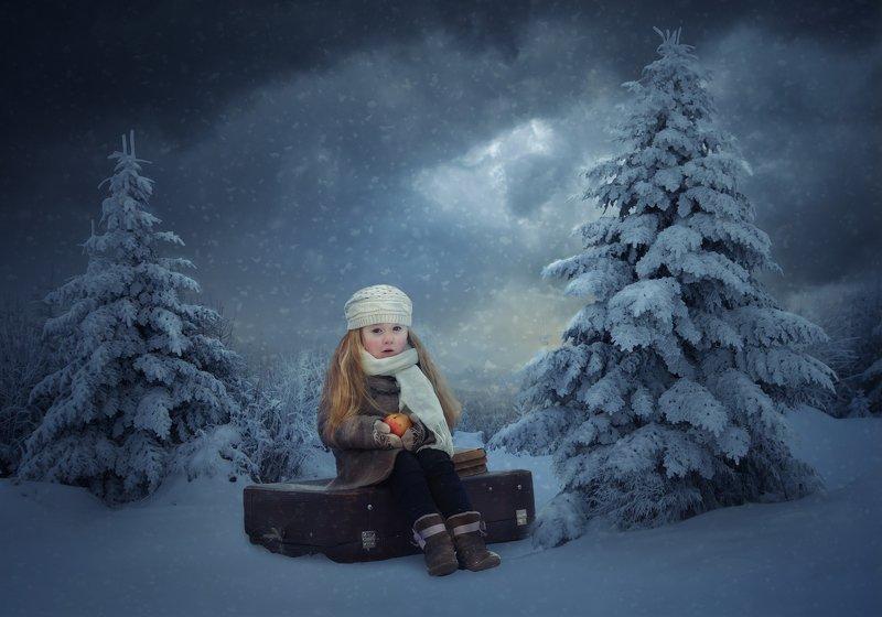 девочка, лес, зима, сосны Морозко (с)photo preview