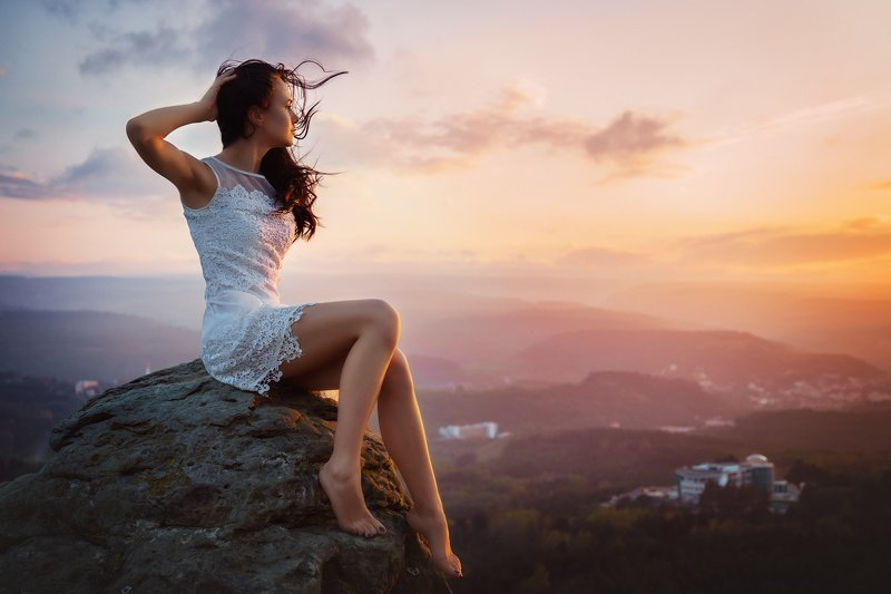 sunset, sky, nature, sun, sunrise, landscape, cloud, woman, silhouette, mountain, evening, clouds, beautiful, summer, mountains, view, dusk, blue, travel, panorama, orange romantic sunsetphoto preview