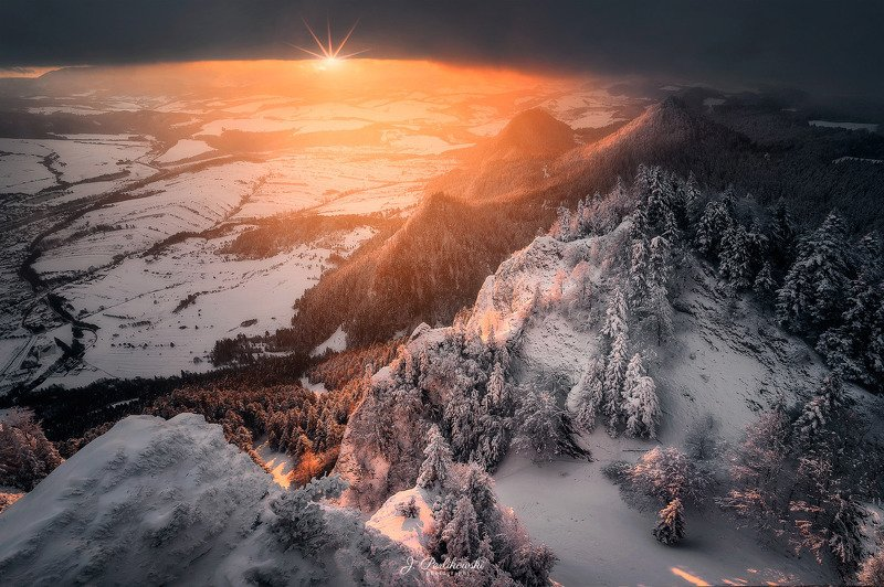 mountains, mountain, pieniny, poland, slovakia, sunset, landscape, colours, light Winter sunsetphoto preview