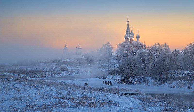 дунилово, ивановская область, мороз, туман, храм, село, зима Дуниловоphoto preview